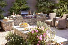 Gartengrill Terrasse Ziegel Naturstein selber bauen coole Ideen Outdoor Bereich