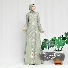 Image may contain: 1 person Dress Brukat, Hijab Dress Party, Hijab Style Dress, Dress Outfits, Fashion Dresses, Hijab Gown, Kebaya Hijab, Kebaya Dress, Kebaya Muslim
