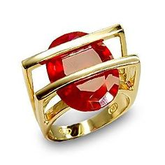 Ruby Cubic Zirconia Gold Plating Sterling Silver Ring