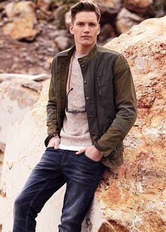 Nylon panel tricolor jacket - Outerwear for Men | MANGO