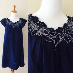 SALE✨BCBG navy flutter sleeve dress This is such a sweet dress made from lightweight cotton and fully lined. I love the embroidered floral appliqués and pleats strewn all the way around the neckline, and flutter sleeves get me every time. If this was smaller I'd be keeping it! BCBGMaxAzria Dresses