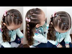 Easy childrens hairstyle with garters and bubble braid Girls Hairdos Braid bubble CHILDRENS easy garters hairstyle Girls Hairdos, Cute Little Girl Hairstyles, Baby Girl Hairstyles, Princess Hairstyles, Girls Braids, Easy Hairstyles For Kids, Teenage Hairstyles, Cool Hairstyles, Children's Hairstyle