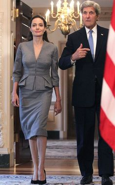 Angelina Jolie, United Nations high commissioner for refugees special envoy, meets secretary of state, John Kerry, in Washington to call for action on World Refugee Day on June 2016 Angelina Joile, Angelina Jolie Style, Jolie Pitt, Le Jolie, World Refugee Day, Peplum Blazer, Fashion Photo, Fashion Tips, Style Fashion