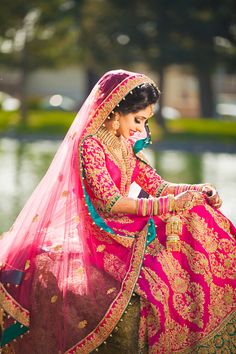 Love hot pink for bridal outfits...even better when there's a bright contrasting color so it's not pink overload.