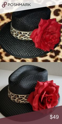 Ladies Viejo Black w Rose Hat Ladies Frank s hats Black Viejo with Red Rose. 5477c4b465af