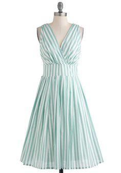 Glamour Power to You Dress in Spearmint Stripe, #ModCloth