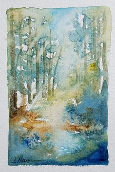 MOUNTAIN STREAM An Original Watercolour Small Painting by Amanda Hawkins Size: 9 x 14cm approx Not framed or mounted About The Artist Amanda Hawkins has been painting in watercolours for most of her life, and graduated in Art, Design and Illustration at Southampton Institute. Amanda has worked on numerous commissions both private and commercial, designing greeting cards and illustrating wildlife books. She has held many successful exhibitions of her work across the South of England and…