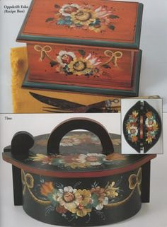 Lessons in Rosemaling Valdres: Tine Box and Recipe Box. Find these projects in Lois Mueller's book here! http://www.hofcraft.com/bkml301-valdres-lessons-in-rosemaling-by-lois-mueller.html