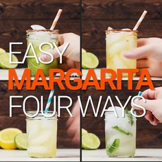 Five Ingredient Margarita - 4 Ways! Mango Margarita, Margarita Bebidas, Margarita Drink, Tequila Drinks, Margarita Recipes, Alcoholic Drinks, Tequilla Cocktails, Spicy Margarita Recipe, Jalapeno Margarita
