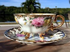 Japanese Pearlized Teacup and Reticulated Saucer, 3 Footed Tea Cup 13849