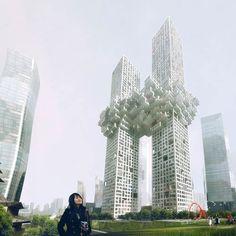 """坂井直樹の""""デザインの深読み"""": 韓国の龍山ビジネス地区に出来る予定の高級住宅タワービル「ザ・クラウド」はオランダのデザイン会社MVRDV、世界貿易センタービルに旅客機が突っ込んだところに酷似と多くの批判。"""