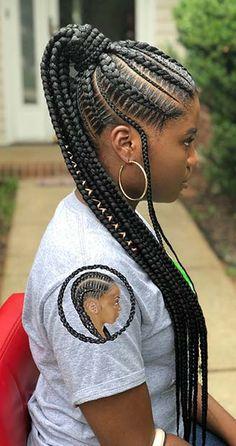 African Hair Braiding : elegant Lemonade braided ponytail hairstyles 2018 for black hair African Hair Braiding: 25 elegante Lemonade geflochtene Pferdeschwanzfrisuren 2018 für schwarzes Haar Black Ponytail Hairstyles, African Braids Hairstyles, Girl Hairstyles, Hairstyles 2018, Elegant Hairstyles, Lemonade Braids Hairstyles, School Hairstyles, African Hair Styles Braids, Braided Ponytail Black Hair