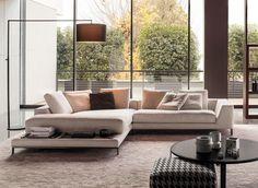 El sofá en un espacio amplio se recomiendan los sillones grandes en forma de L y con telas más resistentes