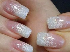 New Year Nail Art Tutorial and Cute Nail Designs: SnowFlake French Nails