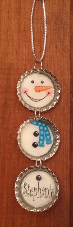 Personalized Bottle Cap Snowman Christmas Ornament   FREE SHIPPING. $10.00, via Etsy.