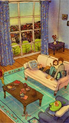 En la casa relajados