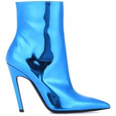 Balenciaga Slash Heel Leather Ankle Boots (3.315 RON) ❤ liked on Polyvore featuring shoes, boots, ankle booties, ankle bootie boots, bootie boots, blue boots, blue leather boots and leather boots