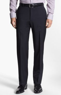 Armani Flat Front Wool Trousers in Blue for Men (navy) | Lyst Formal Pants, Men Trousers, Blue Flats, Burberry, Man Shop, Wool, Navy, Clothes, Fashion