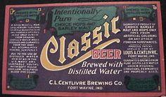 C.L. Centlivre Brewing Co. Classic beer bottle label Fort Wayne Indiana