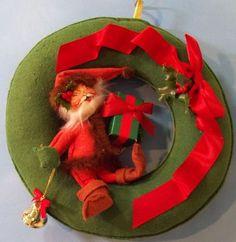 Collectible 1994 Annalee Dolls Christmas Santa Felt Wreath Cute | eBay