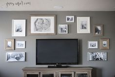 What I learned when I created a gallery wall around a TV. Sharing tips on finding gallery wall ideas, sizing, and easy installation w/ picture hanging strips. Gallery Wall Bedroom, Bedroom Wall, Bedroom Decor, Bedroom Ideas, Tv Wanddekor, Decor Around Tv, Tv Wall Decor, Wall Tv, Diy Wall