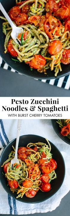 Pesto Squash Noodles and Spaghetti with Burst Cherry Tomatoes - Delicious summertime pesto pasta lightened up with squash noodles and burst cherry tomatoes! Veggie Recipes, Vegetarian Recipes, Dinner Recipes, Cooking Recipes, Healthy Recipes, Cherry Tomato Recipes, Squash Noodles, Veggie Noodles, Spaghetti With Zucchini Noodles