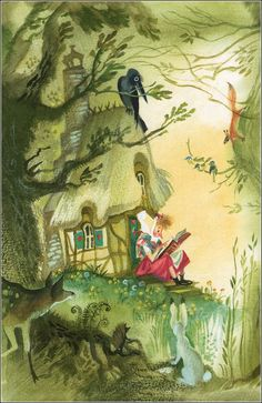 From a beautiful and impossible to find book The Little Witch by Otfried Preussler. Illustrations by Nika Goltz