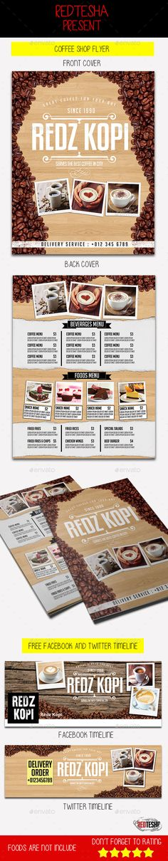 Tea Room Coffee Shop Menu Coffee shop menu, Print templates and - coffee shop brochure template