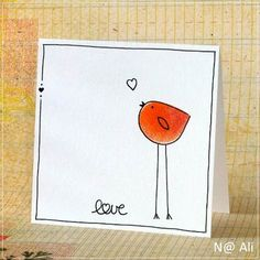 Too cute, I still have a thing for these bird cards. Simple line drawings are sometimes the best thi Tarjetas Diy, Hand Drawn Cards, Karten Diy, Simple Line Drawings, Bird Cards, Bird Drawings, Watercolor Cards, Watercolour, Love Cards
