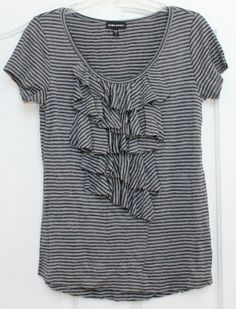 EUC womne's BEBE sport size small gray and black ruffle neck striped top shirt