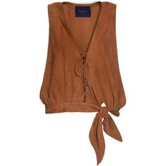 Lilly Sarti Leather Tie Tank ($775) ❤ liked on Polyvore featuring tops, v neck tank, leather tank top, brown leather top, leather tank and brown tank