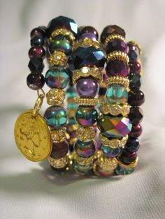 AURORA BOREALIS Memory Wire BRACELET Beaded Cuff Miss Kayes