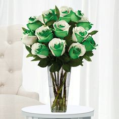 12 Stem Tie-Dye Roses with Clear Vase