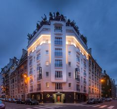 Hotel Félicien   Boutique Hotel   France   http://lifestylehotels.net/en/hotel-felicien   An outside view of the hotel at night.