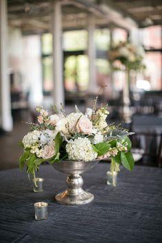 Chic Blush & Gray South Carolina Wedding   Courtney Dox   Elegent blush and white centerpiece