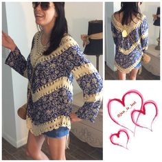 SALE OFFER 30% OFF ANY ITEM OR BUNDLE Full sleeves crochet tunic with paneled printed floral design. This is a great boho top. Model is wearing a small. True to size polyester blendNo Trades  ✅ Price Firm Unless Bundling✅ Tops