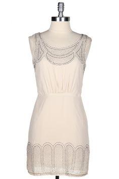 White stud embellished dress