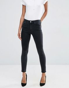 ASOS | ASOS RIDLEY High Waist Skinny Jeans In Washed Black