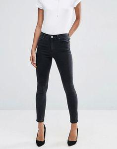 ASOS DESIGN - Ridley - Jean skinny taille haute - Noir délavé at asos.com 037c57cc93b