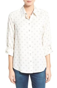 Foxcroft Dot Print Tencel® Roll Sleeve Shirt (Regular & Petite) available at #Nordstrom