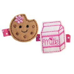 Cookies and Milk Hair Clips  Hot Pink Swiss by TheHairBowPatch