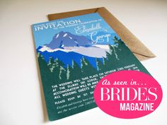 30x Mountain Destination Wedding Invitations with Coordinating Envelopes, as seen in BRIDES MAGAZINE by VanillaRetro on Etsy https://www.etsy.com/listing/172663646/30x-mountain-destination-wedding