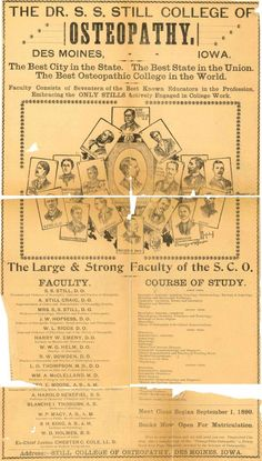 Old advertisement for the Dr. S. S. Still College of Osteopathy.