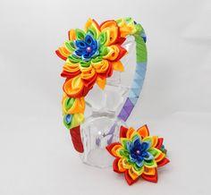 Tsumami Kanzashi flower set Rainbow of headband by LazuritLouise
