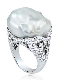 Cellini Jewelers Baroque Pearl and Diamond Ring  Baroque South Sea pearl with a floral-patterned diamond pavé setting, in 18-karat white gold