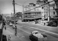 ABOVE: The National Hotel at the corner of Queen and Adelaide Streets in inner-city Brisbane as it looked to a photographer probably from The Courier-Mail in about The hotels ultra-se Brisbane Queensland, Brisbane City, Adelaide Street, Anzac Day, International Day, Rooftop Garden, Hotel S, Old Photos, Street View