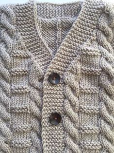 Your little one will look cute as a button in this adorable outfit. This outfit makes an adorable hand cable knit wool vest to keep toddler toasty warm in the s Baby Boy Knitting Patterns, Baby Cardigan Knitting Pattern, Knitting For Kids, Free Knitting, Baby Boy Cardigan, Cardigan Bebe, Winter Sweater Outfits, Winter Sweaters, Outfit Winter