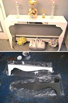 IKEA HACK :: DIY Console Table :: LACK Wall Shelf ($19.99) and two VIKA FINTORP legs ($10 each). Total: $40 for a custom piece! :: Begin by painting them white or if you want extra polish, have them powder coated. Then just screw in the legs into the shelf & fasten the table to the wall.