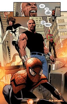 Luke Cage's Mighty Avengers - Spectrum, Superior Spiderman, Ronin (in fake Spidey outfit) Avengers Quotes, Avengers Characters, Avengers Imagines, Avengers Cast, Marvel Avengers, Female Superheroes And Villains, Marvel Comics Superheroes, Marvel Comic Books, Marvel Heroes