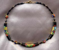 Klimt Style, Gold Foil and Millefiori, Black Murano Glass, Curved Venetian Bead Necklace